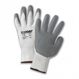 PIP White Nylon Shell Nitrile Foam Dipped Glove - Grey palm and finger coating with white knit glove and elastic cuffs.