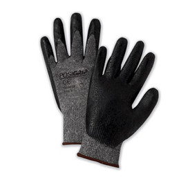 PIP Nitrile Foam Dipped Oil Grip Glove - Pair of two gray and black coated safety work gloves with elastic fit wrists.
