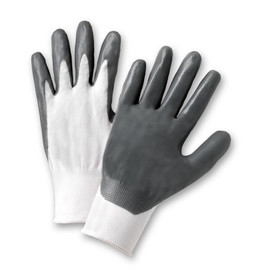 West Chester Standard Gray Nitrile Abrasion Resistant Glove - Pair of two white and dark gray coated safety work gloves with elastic fit wrists.