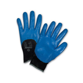 PIP 3/4 Dip Blue Nitrile Abrasion Resistant Glove - Pair of two blue coated safety work gloves with black elastic fit wrists.