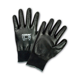 PIP Fully Coated Nitrile Abrasion Resistant Glove - Pair of two black coated safety work gloves with black elastic fit wrists.