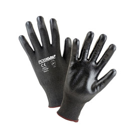 PIP Cut Resistant Black Polyurethane Dipped Glove - Pair of two black dipped gloves with elastic fit wrists.