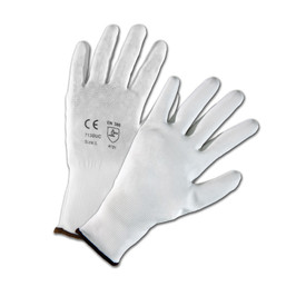 PIP White Nylon PU Coated Glove - Pair of two white and gray safety work gloves with elastic fit wrists.