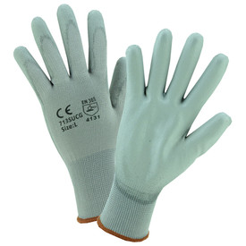 PIP Gray Nylon PU Coated Glove - Pair of two gray safety work gloves with elastic fit wrists.