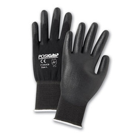 PIP Black Nylon PU Coated Glove - Pair of two black coated safety work gloves with elastic fit wrists.
