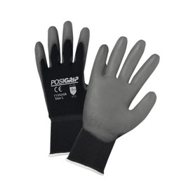 PIP Black Nylon Gray Palm PU Coated Glove - Pair of two black and gray coated safety work gloves with elastic fit wrists.