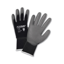 PIP Black Nylon Shell Gray Palm PU Coated Glove - Pair of two black and gray coated safety work gloves with elastic fit wrists.