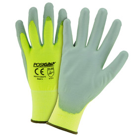 PIP Hi-Viz Yellow PU Palm Coated Touch Screen Glove - Pair of two yellow and gray coated high visibility safety work gloves with elastic fit wrists.