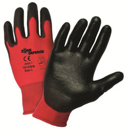 PIP PU Black PU Palm Coated Red Nylon Glove - Pair of two red and black coated safety work gloves with elastic fit wrists.