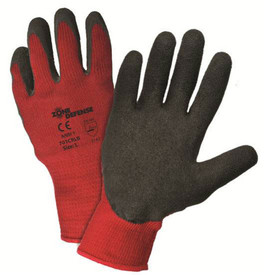 PIP Black Crinkle Latex Finish Glove - Pair of two red and black coated safety work gloves with elastic fit wrists.