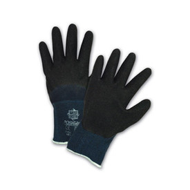 PIP Black Latex 3/4 Coated Glove - Pair of two blue and black coated safety work gloves with blue elastic fit wrists.