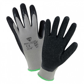 PIP 13 Gauge Black Latex Coated Glove - Black palm and finger coating with grey glove and green cuff accent color.