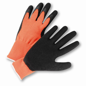 PIP 10 Cut Crinkle Black Latex on Orange Knit Gloves - Pair of two brown and black high visibility work gloves with white hem.