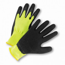 PIP 10 Cut Crinkle Black Latex on Yellow Knit Glove - Yellow fabric glove with black textured coating on palm and fingers.