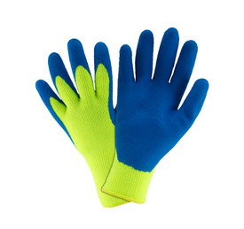 PIP Blue Latex Palm Coated on Hi-Viz Yellow Thermal Knit Glove - Pair of two bright yellow and blue high visibility work gloves with fabric elastic fit wrist.