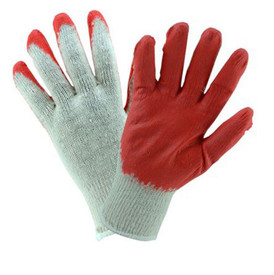 West Chester Hi-Viz Lime 2 Reversible PVC Dotted Poly/Cotton Knit Glove - Pair of red and white speckled knit safety gloves with fabric elastic wrists.