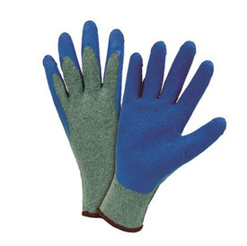 PIP 10 Gauge Heavy Latex Palm Dip Gloves - Pair of two dark gray and blue coated safety gloves with fabric elastic wrists and brown hem.