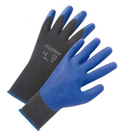 PIP PVC Blue Palm Coated Air Injected Glove - Pair of two black and blue coated safety work gloves with elastic fit wrists.