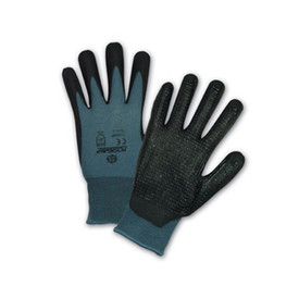 PIP Dotted Palm Bi-Polymer Coated Glove - Blue and black coated safety work gloves with dotted black coated palms.