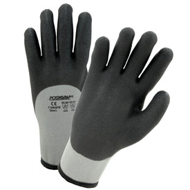 PIP 10 Gauge Full Dip Water Repel Glove - Pair of two gray and black coated safety work gloves with elastic fit wrists.