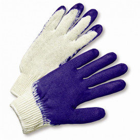 PIP Blue Latex Palm Coated Poly/Cotton Knit Glove - White fabric glove with blue textured coating on fingers and palm.