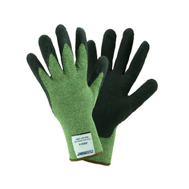 PIP 13g Kevlar Steel Cut Resistant ANSI 4 Glove - Dark yellow and black coated work gloves with elastic fit wrists.