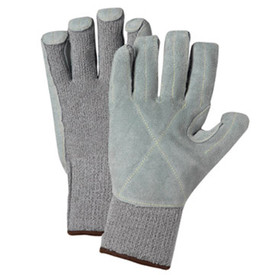 PIP Leather Covered Palm ANSI 4 Glove - Pair of two dark and light gray covered palm work gloves with elastic fit wrists.