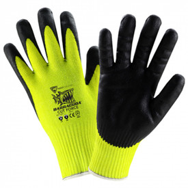 PIP Barracuda Cut Force A6 Cut Resistant Glove - Black coating on palm and fingers with yellow knit glove and stamped Barracuda logo.