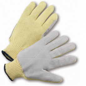 PIP Aramid Cut Resistant ANSI Cut 5 Glove - Off white knit glove with grey palm layer, X stitching on palm and seams down each finger, with elastic cuff.
