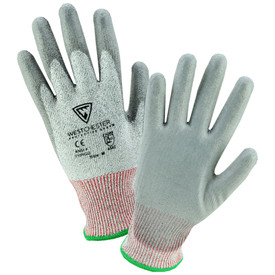 PIP Gray Polyurethane Coated ANSI 4 Work Glove - Dark and light gray coated work gloves with red and green elastic fit wrists.