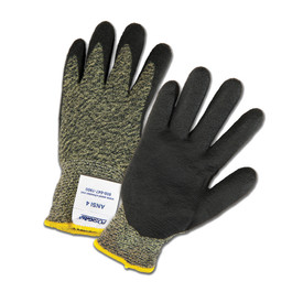 PIP Foam Nitrile Coated ANSI 4 Work Glove - Black and gray styled and coated work gloves with elastic fit wrists.