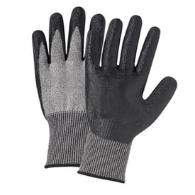 PIP Nitrile Coated Palm ANSI 3 Work Glove - Pair of two dark and light gray work gloves with elastic fit wrists.