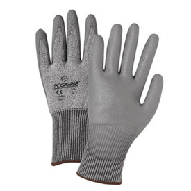 PIP PU Coated Palm ANSI CUT 3 Glove - Gray styled and coated work gloves with easy grip palm and elastic fit wrists.