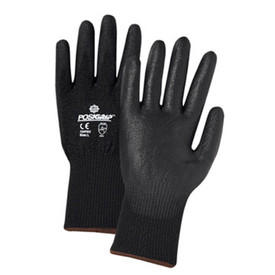 PIP PU Coated Palm ANSI CUT 3 EN Cut Level 5 Glove - Black coated work gloves with easy grip palm and elastic fit wrists.