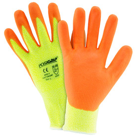 PIP Hi-Viz Orange Nitrile Palm Coated ANSI 4 Glove - High visibility bright yellow and orange coated work gloves with elastic fit wrists.