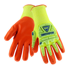 PIP Hi-Viz Foam Nitrile Palm Coated ANSI 4 Glove - High visibility bright yellow and orange coated work gloves with outer foam padding.