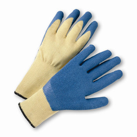 PIP Kevlar Latex Palm Coated ANSI Cut 3 Glove - Pair of two yellow and blue coated work gloves with elastic fit wrists.