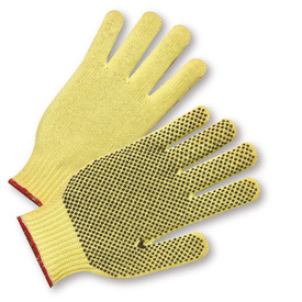 PIP Kevlar 100% 1 Side PVC Dotted ANSI 3 Glove - Pair of two knit yellow gloves with elastic wrists, dotted rubber palm coating, and red hem.