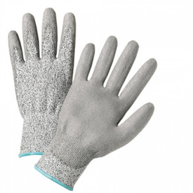 PIP Posigrip Cut Resistant Work Glove - Grey coating on palm and fingers with black and white knit glove and light blue cuff accent color.