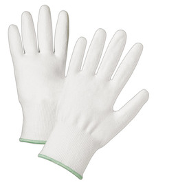PIP Posigrip Cut Resistant Palm Coated White Glove - Pair of two white gripping work gloves with elastic fit wrists.