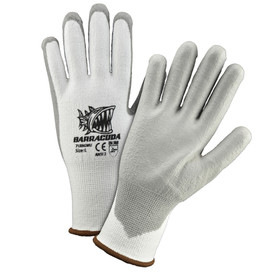 PIP Cut Resistant Grey PU Dip Glove - Pair of two light and dark gray work gloves with elastic fit wrists and brown hem.
