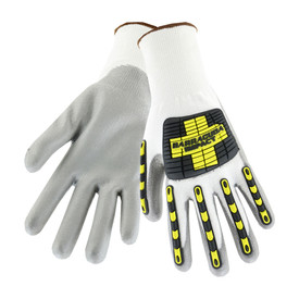 PIP Cut Resistant TPR Protected Glove - Pair of two light and dark gray work gloves with outer black and yellow rubber.