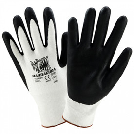 PIP Barracuda White HPPE Shell With Black Foam Nitrile Dip - Black coating on palm and fingers with white knit glove and stamped Barracuda logo.