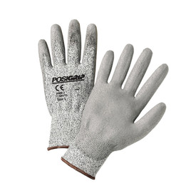 PIP Cut Resistant Touch Screen Glove - Light gray styled work gloves with easy grip palm and elastic fit wrists.