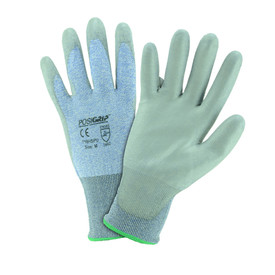 PIP PU Coated Palm ANSI CUT 3 EN Cut Level 5 Glove - Gray and styled blue work gloves with coated palm and elastic fit wrists.