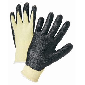 PIP 100% Kevlar Nitrile Coated ANSI Cut 2 Glove - Pair of two light yellow and black coated safety work gloves with elastic wrists.