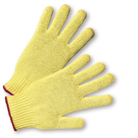 PIP Kevlar Knit ANSI 2 Glove - Pair of two knit yellow gloves with elastic wrists and red hem.