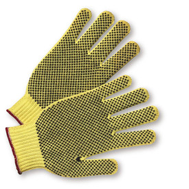 PIP Kevlar 2 Side PVC Dotted ANSI 2 Glove - Pair of two knit yellow gloves with elastic wrists, dotted rubber palm coating, and red hem.