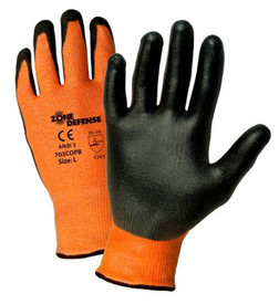 PIP Cut Resistant Black Polyurethane Pal Coat Glove - Black and orange high visibility coated gloves with elastic fit wrists.