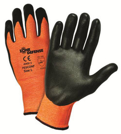 PIP Nitrile Foam Coated Palm Glove - Black and dark orange foam coated gloves with elastic fit wrists.